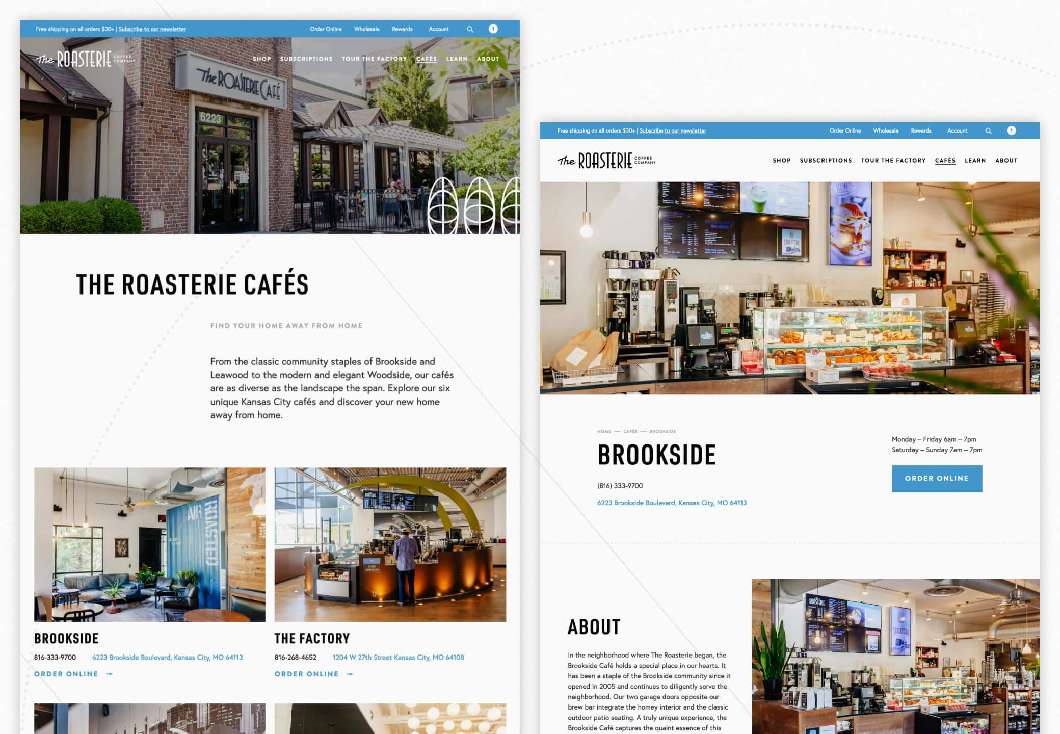Screenshots of the roasterie.com